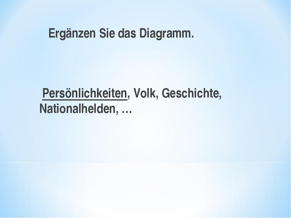 Ergänzen Sie das Diagramm. Persönlichkeiten, Volk, Geschichte, Nationalhelde...