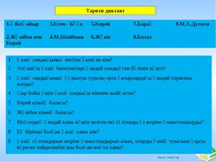 Тарихи диктант 1.Әбілқайыр3.Есен - Бұға5.Керей7.Барақ9.М.Х.Дулати 2.Жәніб