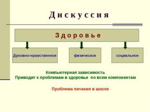 Д и с к у с с и я З д о р о в ь е Духовно-нравственное физическое социальное