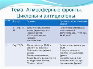 Тема: Атмосферные фронты. Циклоны и антициклоны. № п/п&, стр.ЗаданияРуково