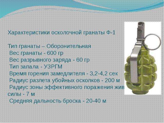 Характеристики осколочной гранаты Ф-1 Тип гранаты – Оборонительная Вес гранат...