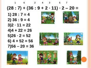 (28 : 7) + (36 : 9 + 2 ∙ 11) ∙ 2 – 20 = 1 6 2 4 3 5 7 1) 28 : 7 = 4 2) 36 : 9