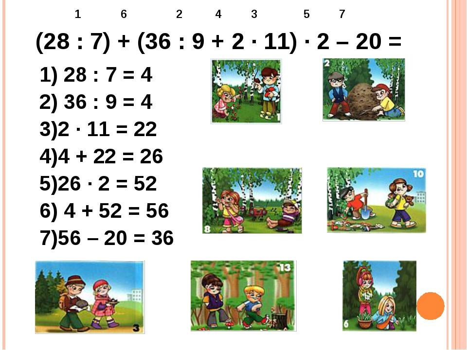 (28 : 7) + (36 : 9 + 2 ∙ 11) ∙ 2 – 20 = 1 6 2 4 3 5 7 1) 28 : 7 = 4 2) 36 : 9...