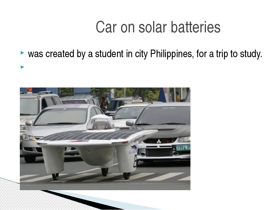 was created by a student in city Philippines, for a trip to study. Car on sol...
