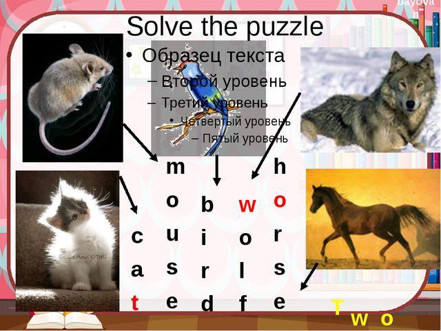 Solve the puzzle T w o c a t m o u s e b i r d w o l f h o r s e bayovan