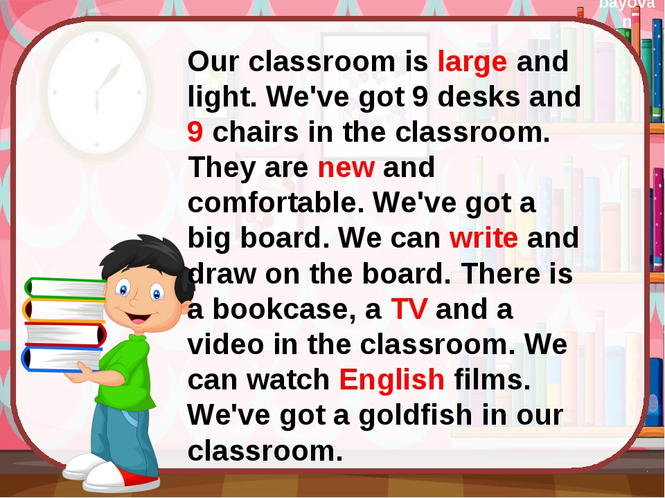 Our classroom is large and light. We've got 9 desks and 9 chairs in the clas...