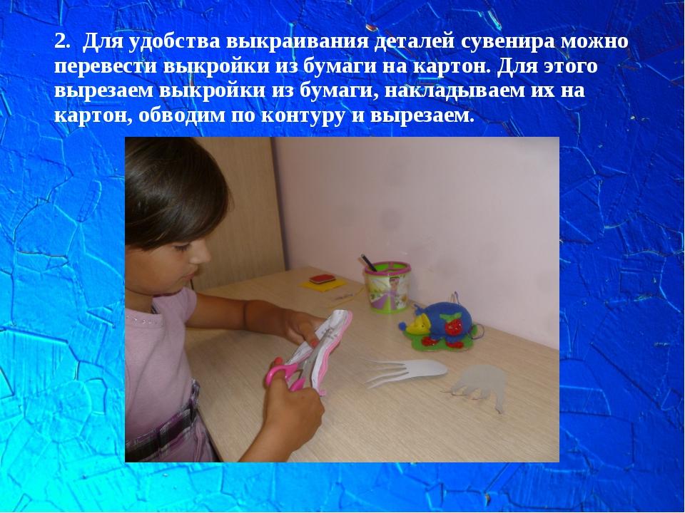 2. Для удобства выкраивания деталей сувенира можно перевести выкройки из бума...