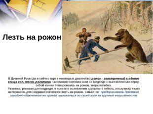В Древней Руси (да и сейчас еще в некоторых диалектах) рожон - заостренный с