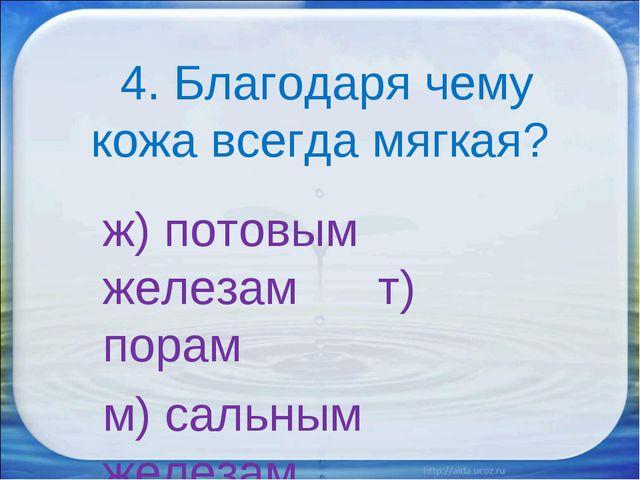 4. Благодаря чему кожа всегда мягкая? ж) потовым железам т) порам м) сальным...