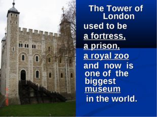 The Tower of London used to be a fortress, a prison, a royal zoo and now is o