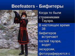 Beefeaters - Бифитеры Когда то были стражниками Тауэра. В настоящее время 38
