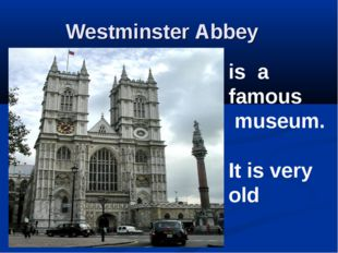 Westminster Abbey is a famous museum. It is very old