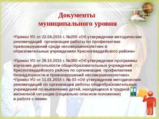 Документы муниципального уровня Приказ УО от 22.04.2015 г. №205 «Об утвержден