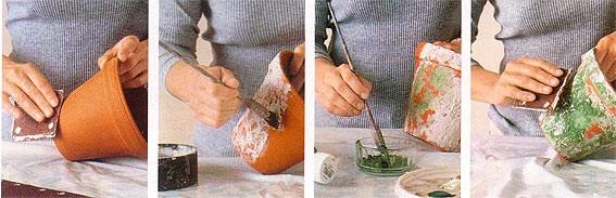 Декорирование цветочных горшков своими руками