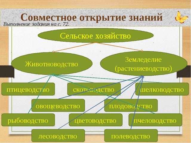 Совместное открытие знаний Выполнение задания на с. 72. Сельское хозяйство Ж...
