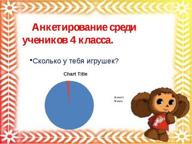 Анкетирование среди учеников 4 класса. Сколько у тебя игрушек?
