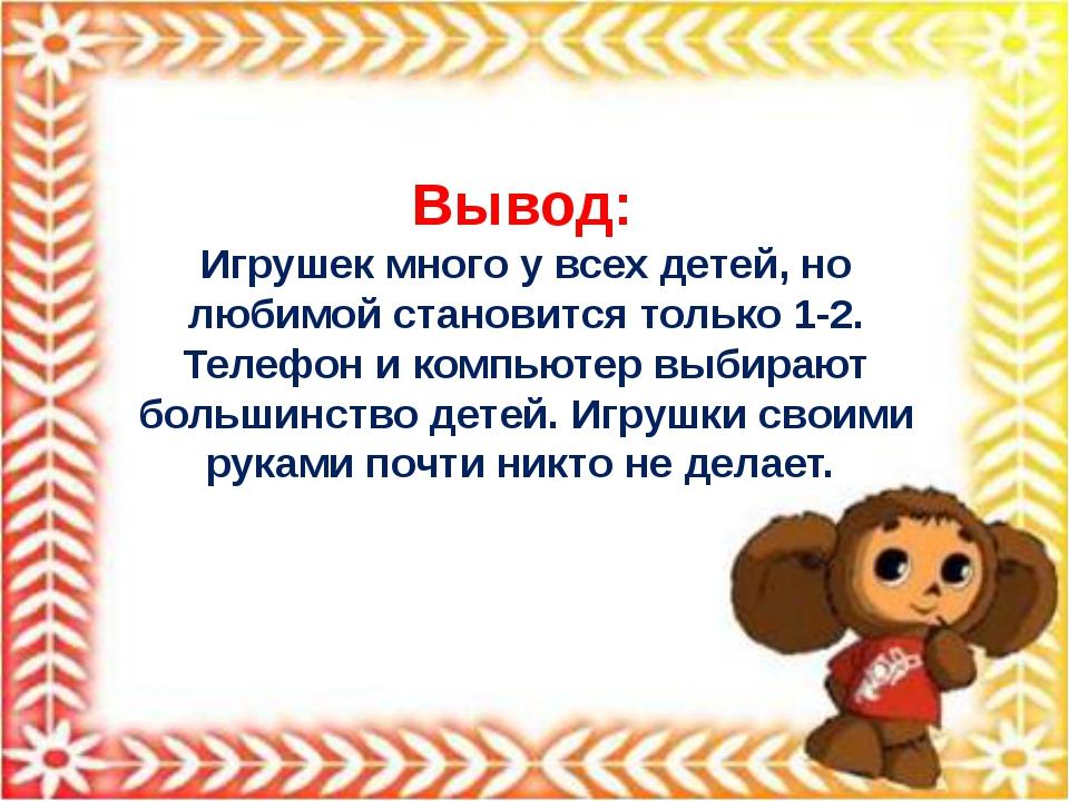 Вывод: Игрушек много у всех детей, но любимой становится только 1-2. Телефо...