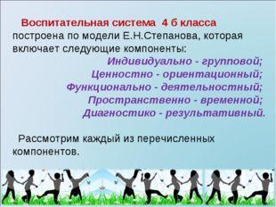 Воспитательная система 4 б класса построена по модели Е.Н.Степанова, которая