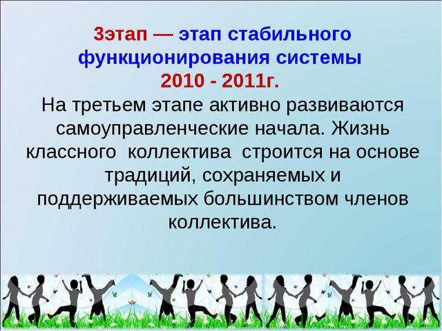3этап — этап стабильного функционирования системы 2010 - 2011г. На третьем эт...