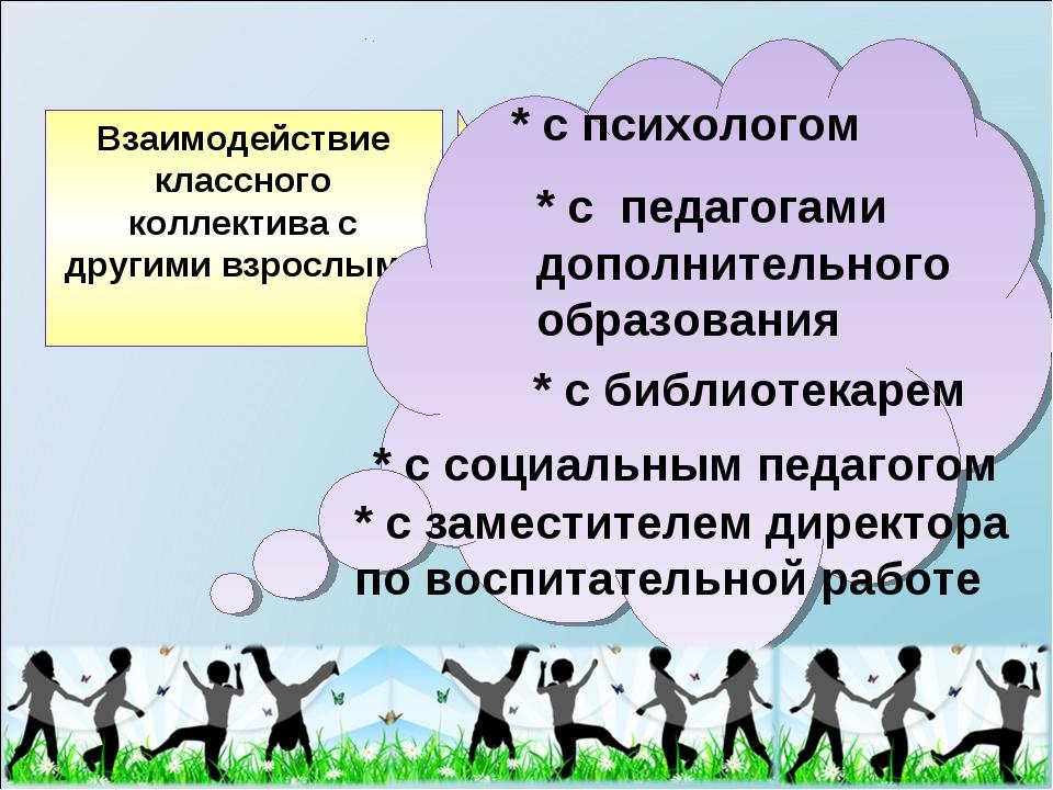 * с психологом * с педагогами дополнительного образования * с заместителем ди...