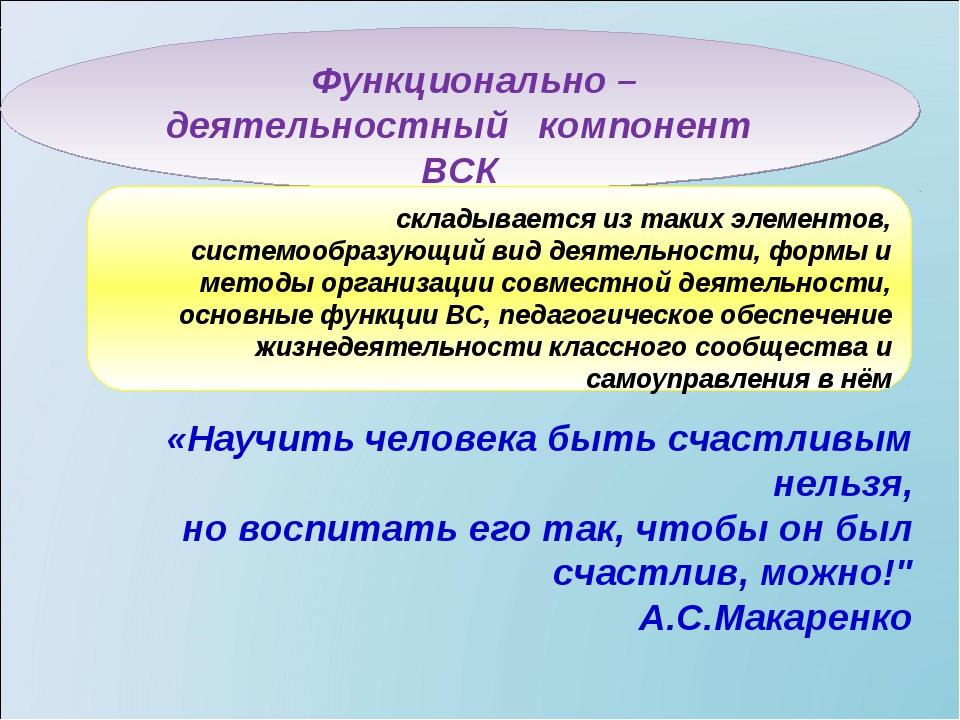 Функционально – деятельностный компонент ВСК складывается из таких элементов...