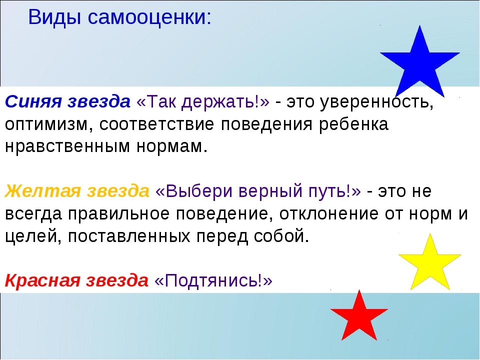 Виды самооценки: Синяя звезда «Так держать!» - это уверенность, оптимизм, соо...
