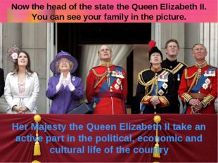 Now the head of the state the Queen Elizabeth II. You can see your family in