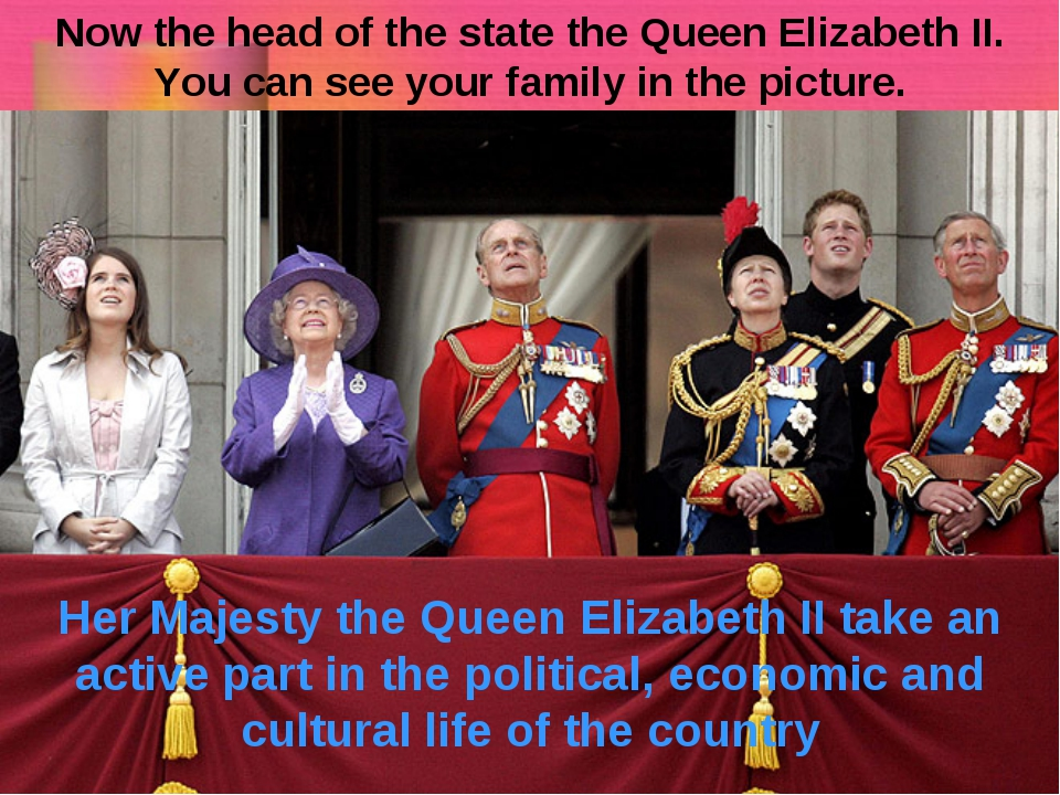Now the head of the state the Queen Elizabeth II. You can see your family in...