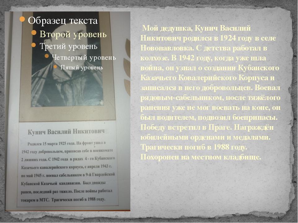 Мой дедушка, Кунич Василий Никитович родился в 1924 году в селе Новопавловка...