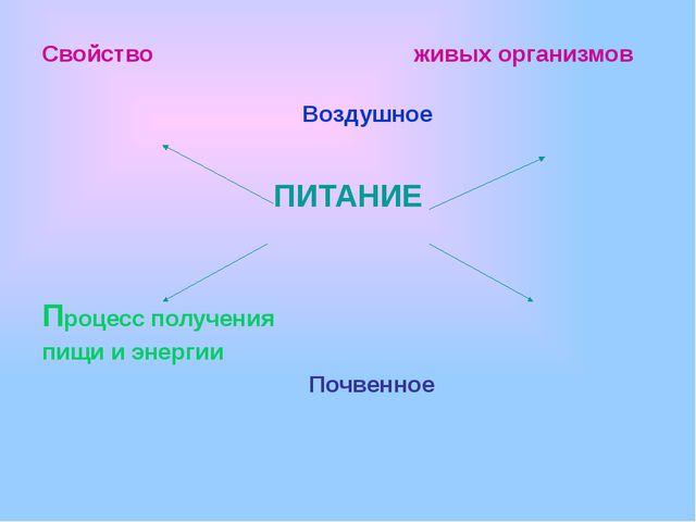 Свойство  живых организмов   Воздушное ПИТАНИЕ Процесс п...