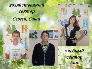 учебный сектор Аня хозяйственный сектор Сергей, Саша