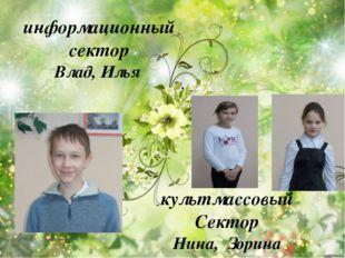 культмассовый Сектор Нина, Зорина информационный сектор Влад, Илья