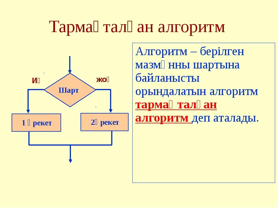 Тармақталған алгоритм Алгоритм – берілген мазмұнны шартына байланысты орындал...