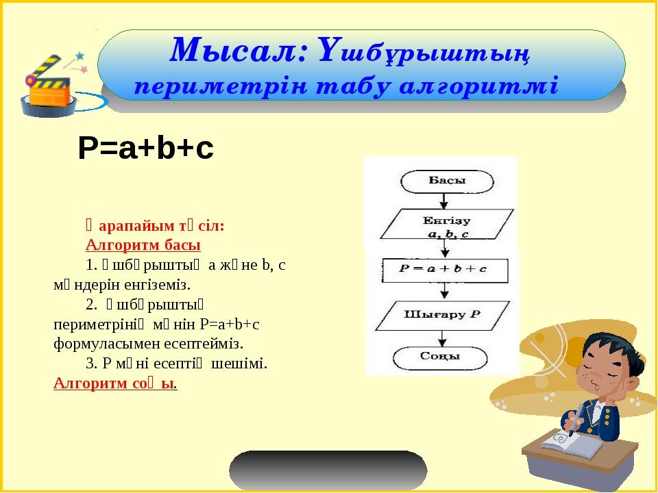Мысал: Үшбұрыштың периметрін табу алгоритмі Қарапайым тәсіл: Алгоритм басы 1...