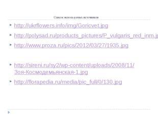 Список используемых источников http://ukrflowers.info/img/Goricvet.jpg http:
