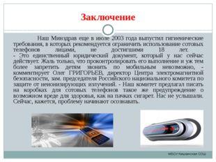 Заключение Наш Минздрав еще в июле 2003 года выпустил гигиенические требовани