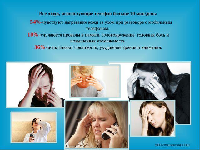 Все люди, использующие телефон больше 10 мин/день: 54%-чувствуют нагревание...