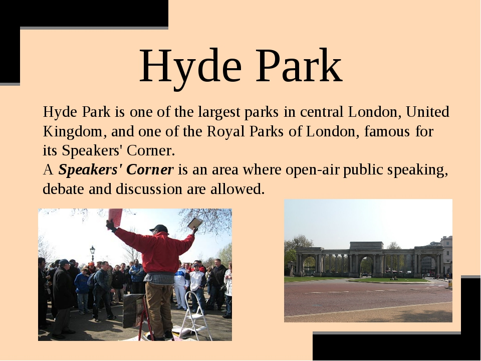 Hyde Park Hyde Park is one of the largest parks in central London, United Kin...