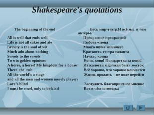 Shakespeare's quotations The beginning of the end Весь мир-театр.И всё мы в н