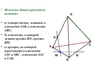 Пользуясь данным рисунком, назовите: а) четыре точки, лежащие в плоскости SAB