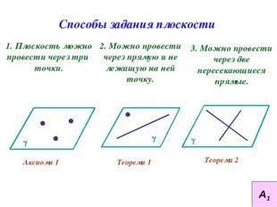 Способы задания плоскости 1. Плоскость можно провести через три точки. 2. Мож