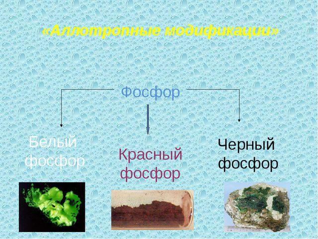 «Аллотропные модификации» Фосфор Белый фосфор Красный фосфор Черный фосфор