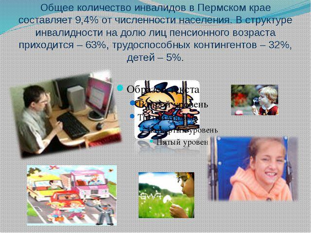 Общее количество инвалидов в Пермском крае составляет 9,4% от численности нас...