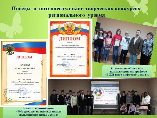 Победы в интеллектуально- творческих конкурсах регионального уровня место на...