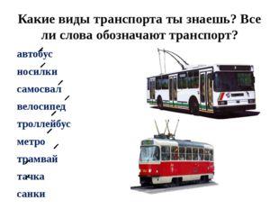 Какие виды транспорта ты знаешь? Все ли слова обозначают транспорт? автобус н
