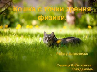 Кошка с точки зрения физики. Работу выполнила: Ученица 8 «Б» класса: Гражданк