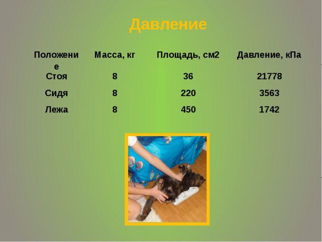Давление Положение Масса, кг Площадь, см2 Давление, кПа Стоя 8 36 21778 Сидя...
