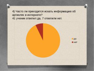 4) Часто ли приходится искать информацию об артиклях в интернете? 41 ученик о