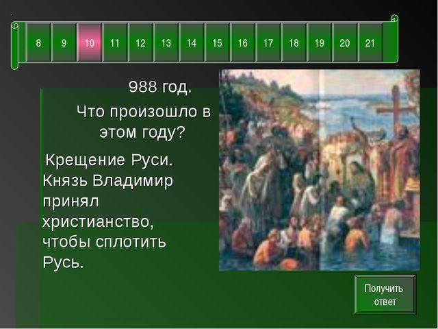 988 год. Что произошло в этом году? Крещение Руси. Князь Владимир принял хри...