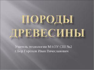 Учитель технологии МАОУ СШ №2 г.Бор Горохов Иван Вячеславович